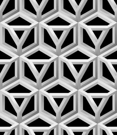 hull: 3D Lattice Seamless Pattern, Based on Impossible Triangle Shape, Vector Illustration.