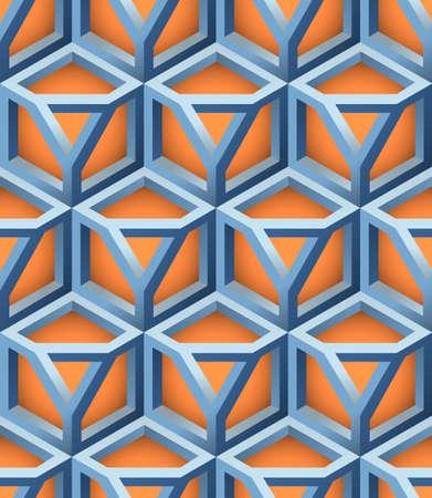 3D Lattice Seamless Pattern, Based on Impossible Triangle Shape, Vector Illustration.