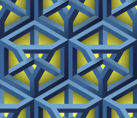 metal grate: 3D Lattice Seamless Pattern, Based on Impossible Triangle Shape, Vector Illustration.