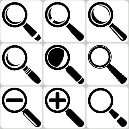 Vector Magnifier Glass Search Find Lupe Zoom Icons Vector