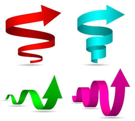 spiral: 3D Spiraal en Twisted Arrows Set, Vector Illustratie