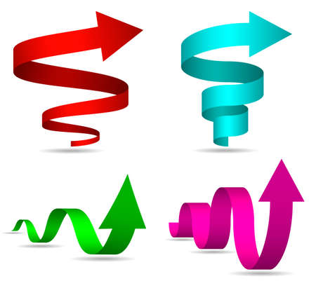 3D Spiral and Twisted Arrows Set, Vector Illustration