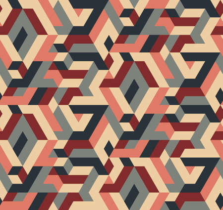 Abstract Vector Seamless Geometric Pattern, Vintage Colors Illustration