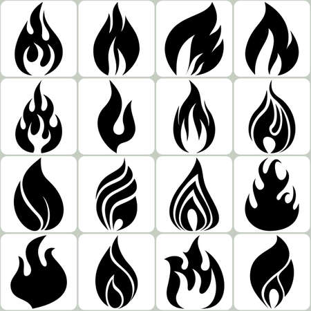 fuoco e fiamme: Fuoco Fiamme Icons Set, illustrazione vettoriale Vettoriali