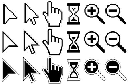 Pixel Cursors Icons, Mouse, Hand, Arrow, Hourglass, Magnifier Glass, Vector Illustration Vettoriali