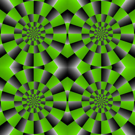 Optical Illusion Spin Cycle, Vector Seamless Pattern Background, Some rotation appear.