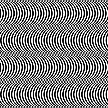 Black and White Op Art Design, Stripes Appears to Tilt, Vector Seamless Pattern Background Vettoriali