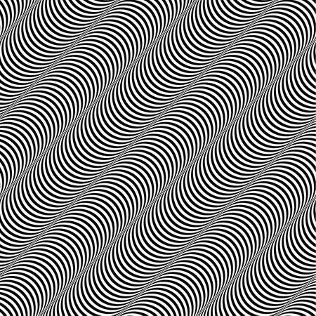 appears: Black and White Op Art Design, Stripes Appears to Tilt, Vector Seamless Pattern Background Illustration