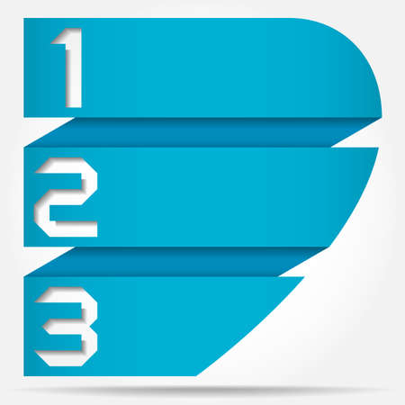 3d Origami Style Numbered Banner Template Half Heart Based, Vector Illustration Vettoriali