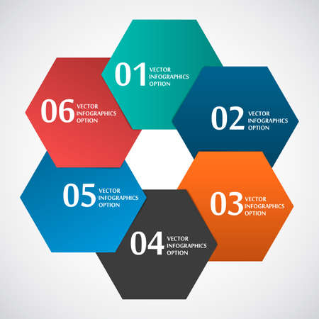 Abstract Paper Circle Shape Hexagon Based, Infografics Template, Vector Illustration Vettoriali