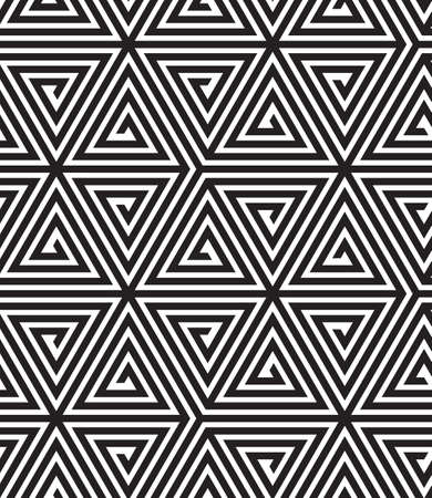 Triangles, Black and White Abstract Seamless Geometric Pattern, Vector Illustration. Vettoriali