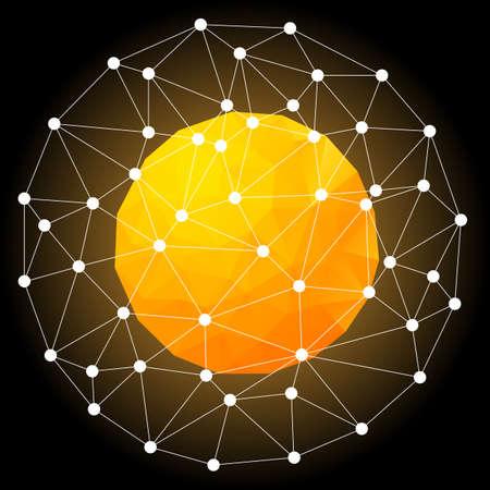 Orange Hot Star, Spherical Polygonal Design.Vector Illustration. Galaxy Concept.