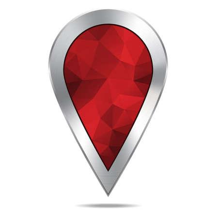 Silver Map Location Diamond Pointer Icon, Polygonal Design. Vector Illustration.