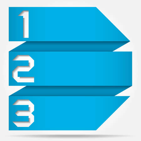 3d Origami Style Numbered Arrow Banner Template, Vector Illustration