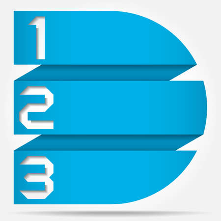 3d Origami Style Numbered Banner Template Circle Based, Vector Illustration