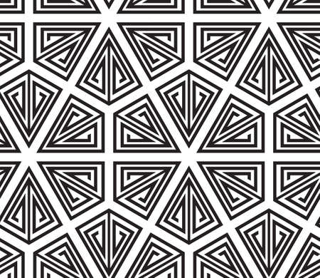 Triangles, Black and White Abstract Seamless Geometric Pattern, Vector Illustration. Vector