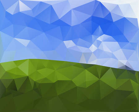 Green Field and Sky, Polygonal Design.Vector Illustration Background.