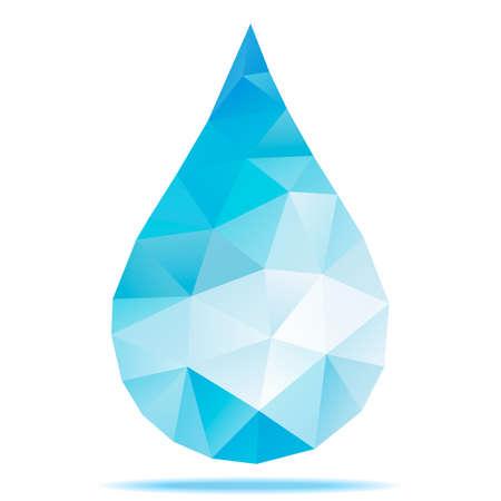 Geometric Blue Drop, Polygonal Design. Vector Illustration. Vettoriali