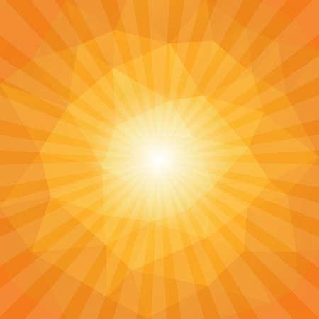 Sunset Sun Sunburst Pattern, Polygonal Design. Vector illustration Vettoriali