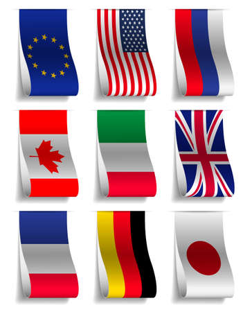 G8 and EU Flags Ribbon Labels, Vector Illustration