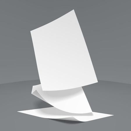 Vector Illustration of  three realistic paper sheets falling down, soft shadows.