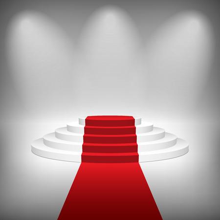 Escalier avec tapis rouge, illustration vectorielle. Banque d'images - 32557364