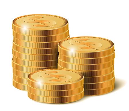 winning money: Golden Coins Stacks, Vector Illustration.