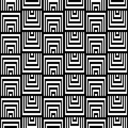 appear: Abstract Square Bases Black and White Seamless Pattern, Vector Illustration. Motion Illusion Appear.