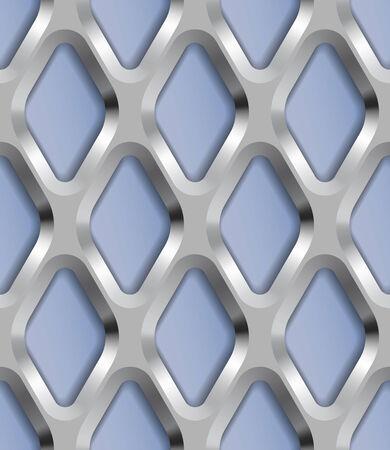 metal lattice: Rhombus Metal Lattice, Vector Seamless Pattern.