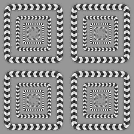 deceptive: Rotating Squares, Optical Illusion, Vector Seamless Pattern.