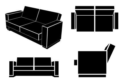 sofa: Modern Sofa Couch, Different Views, Vector Illustration.