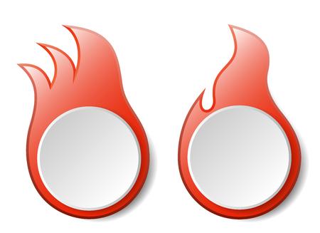 fuoco e fiamme: Hot Fuoco Fiamme Vector Banners Set Vettoriali