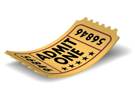 Vintage Admit One Cinema Ticket, Vector Illustration. Zdjęcie Seryjne - 32555724