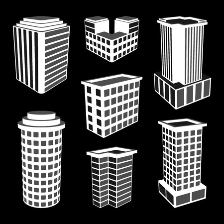 3D Office Buildings Icons. Vector Illustration. Vector
