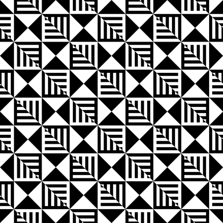 deceptive: Abstract Black and White Illusion Vector Seamless Pattern. Line appears to tilt. Illustration