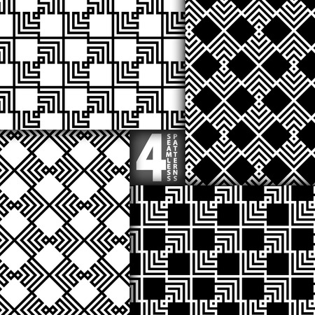 Abstract ZigZag Black White Vector Seamless Pattern, Set of 4 Vector