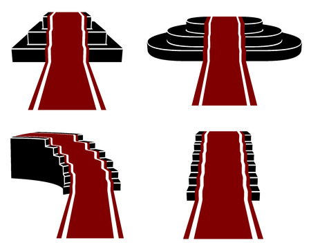 staircases: Staircases with Red Carpet, Vector Icons Set