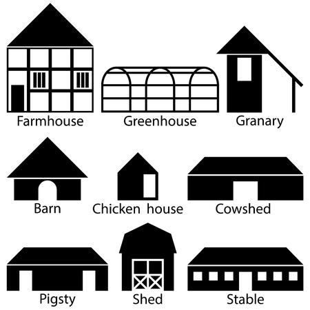 pigsty: Farm Buildings Icons, Vector Illustration