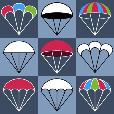 parachuter: Colored Parachute Icons Set, Vector Illustration Illustration