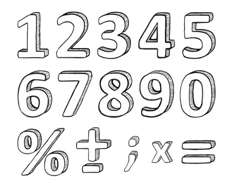 Hand Drawn Numbers and Basic Math Signs, Vector Illustration Vettoriali