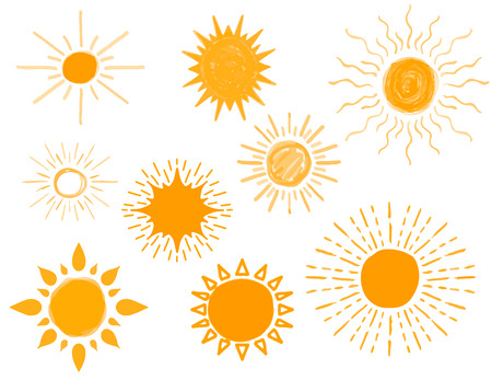 Set of Different Hand Drawn Sun Sketch, Vector Illustration