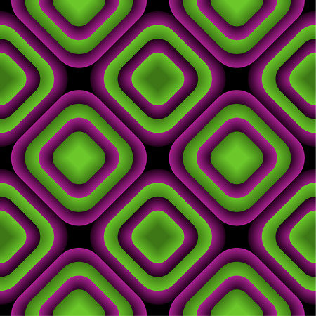 appear: Bulge Rhombuses Optical illusion Vector Seamless Pattern, Some Bulging Effect Appear
