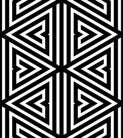 Abstract Black and White ZigZag Vector Seamless Pattern, Triangle Based Vector