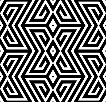 Abstract Black and White ZigZag Vector Seamless Pattern, Cross Based Vector