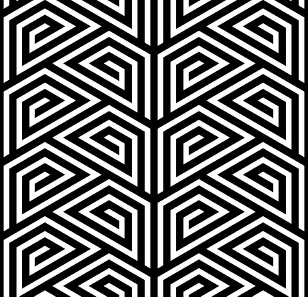 Abstract Black and White ZigZag Vector Seamless Pattern, Trapezium Based