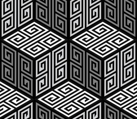 3D Zig Zag Cubes, Op Art Vector Seamless Pattern Background