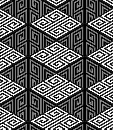 zig: 3D Zig Zag Cube Holes, Op Art Vector Seamless Pattern Background Illustration