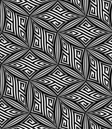 Abstract Op Art Black and White ZigZag Vector Seamless Pattern Vector