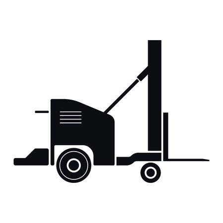 front raise: Vintage Forklift Icon, Vector Illustration