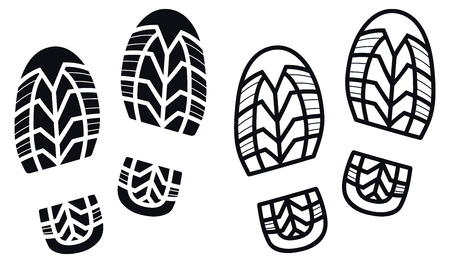 Work Boots Print, Black and White Vector Illustration Vetores
